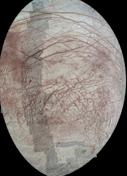 This view of Jupiter&#039;s moon Europa features several regional-resolution mosaics overlaid on a lower resolution global view for context. The regional views were obtained during several different flybys of the moon by NASA&#039;s Galileo mission.  Image credit: NASA/JPL-Caltech/University of Arizona.