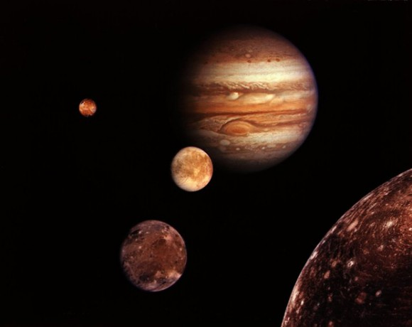 Jupiter and its four planet-size moons, called the Galilean satellites photographed and assembled into a collage by NASA.