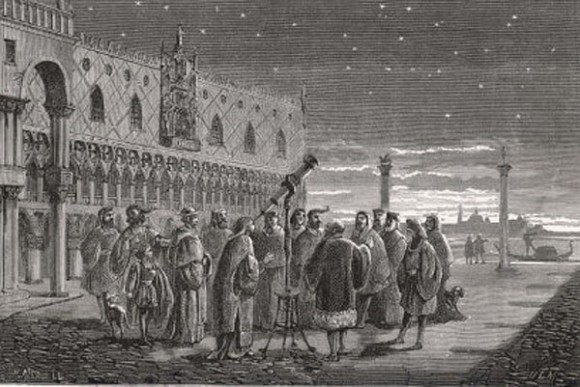 The first star party? Galileo shows of the sky in Saint Mark's square in Venice. Note the lack of adaptive optics. (Illustration in the Public Domain).