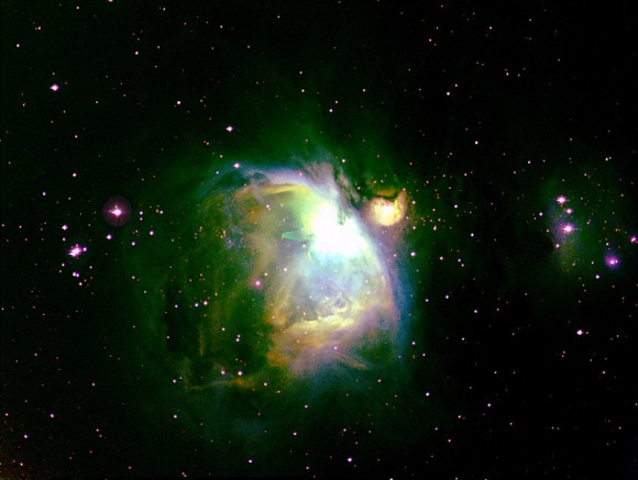 "M 42 in Orion using the 'Hubble ""Palette.' Images by Gary Gonnella, image editing by Paul M. Hutchinson."