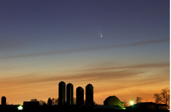 Comet PANSTARRS above a farm near Alto, Michigan. Credit: Kevin's Stuff on Flickr.