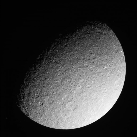 This raw, unprocessed image of Rhea was taken on March 10, 2013 and received on Earth March 10, 2013. The camera was pointing toward Rhea at approximately 280,317 kilometers away, and the image was taken using the CL1 and CL2 filters. Credit: NASA/JPL-Caltech/SSI