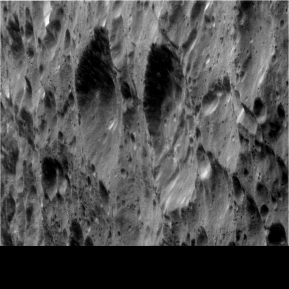 This raw, unprocessed image of Rhea was taken on March 9, 2013. Credit: NASA/JPL-Caltech/Space Science Institute