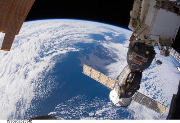 Russian Soyuz spacecraft, docked to the International Space Station. Cre