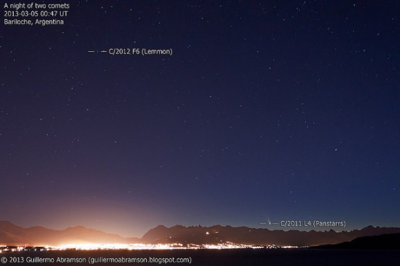 Comets Pan-STARRS and Lemmon over Bariloche.Argentina on March 4, 2013. Credit and copyright: Guillermo Abramson.