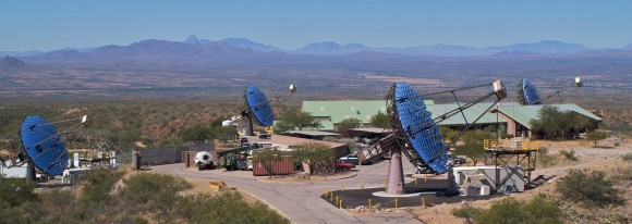 The four gamma-ray telescopes in the VERITAS array. (Credit: VERITAS/The National Science Foundation).