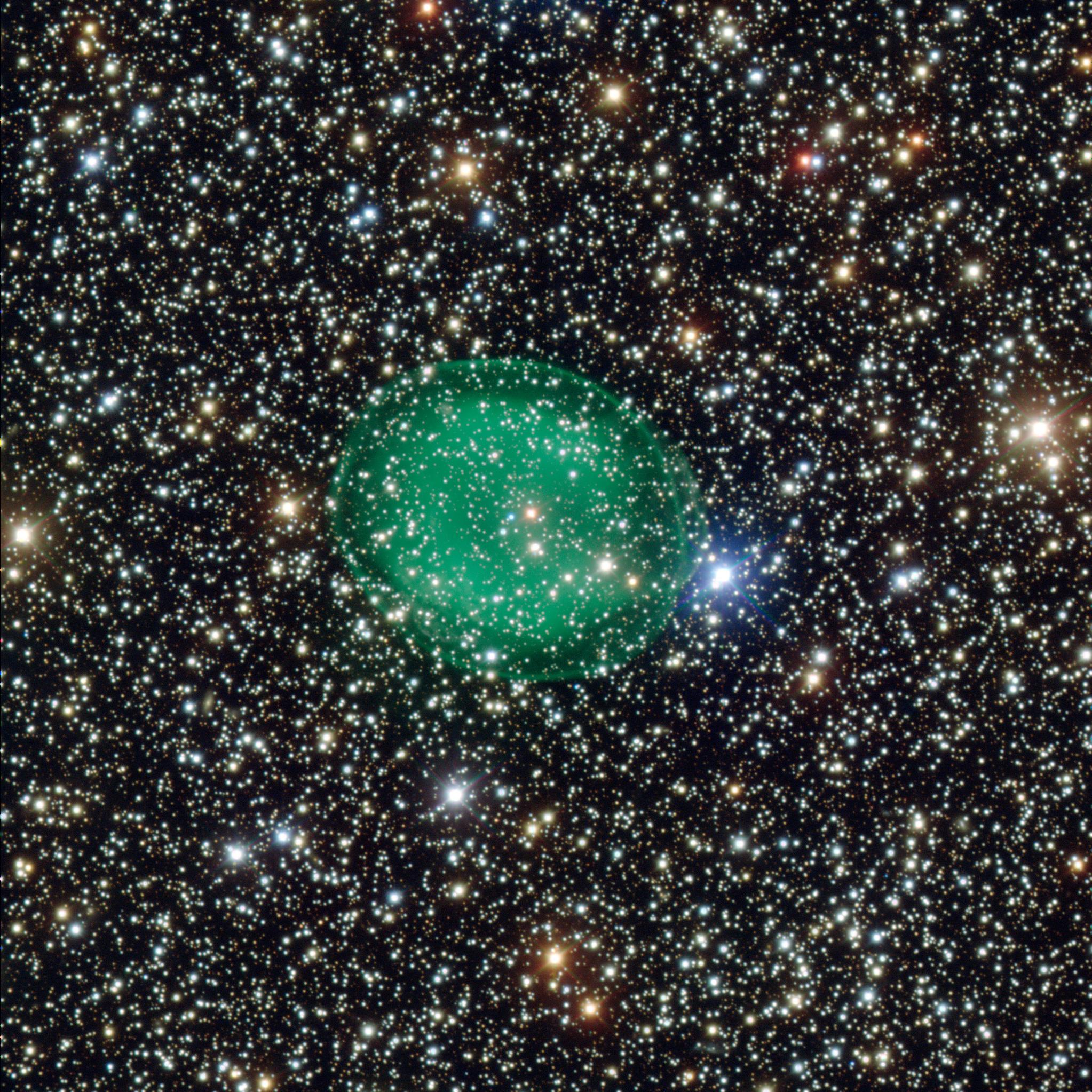 Planetinis ūkas IC1295 (žalias). ©ESO