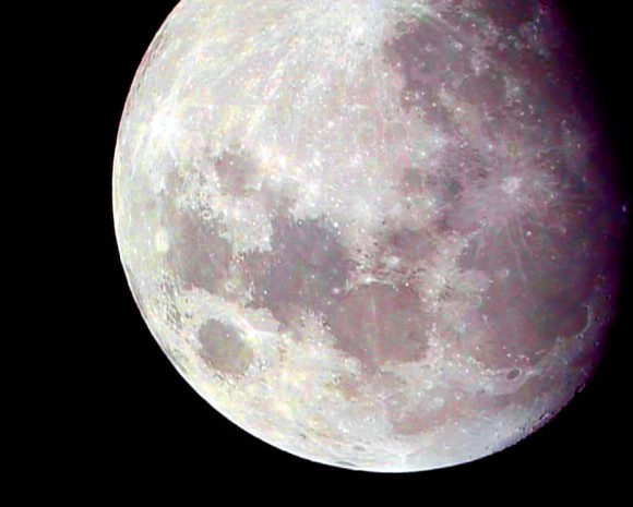 A false-colored gibbous Moon enhanced to bright out subtle color. (Photo by author).