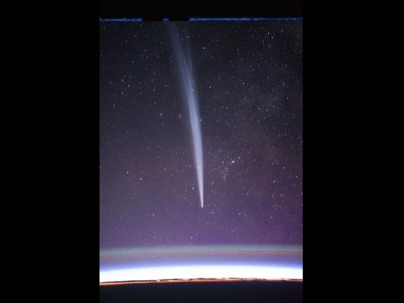 Comet Lovejoy as seen from the International Space Station.