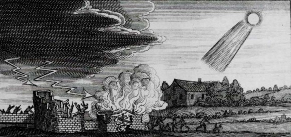 Medieval woodcut depicting the supposed destructive influence of a 4th century comet. (Credit: Stanilaus Lubienietski's Theatrum Cometicum, Amsterdam 1668).
