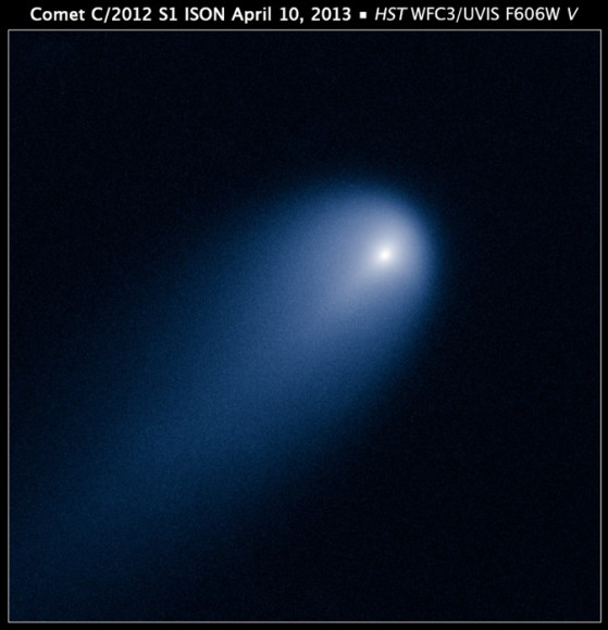 NASA's Hubble Space Telescope provides a close-up look of Comet ISON (C/2012 S1), as photographed on April 10, when the comet was slightly closer than Jupiter's orbit at a distance of 386 million miles from the sun. Credit:NASA, ESA, J.-Y. Li (Planetary Science Institute), and the Hubble Comet ISON Imaging Science Team.