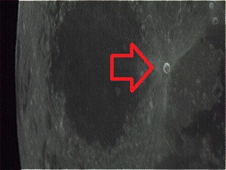 Aristarchus crater (arrowed) near Full Moon. Note how bright it is compared to the surrounding terrain. (Photo by Author).