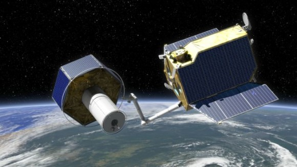 Artist's conception of DEOS (German orbital servicing mission). Credit: Astrium