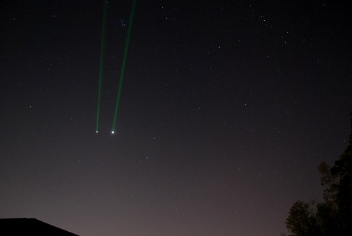 An appropriate use of a laser during last year's Jupiter-Venus conjunction. (Photo by Author).