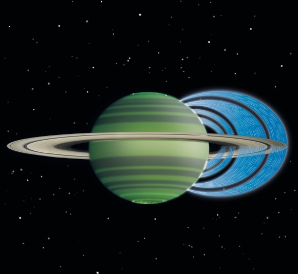 This artist's concept illustrates how charged water particles flow into the Saturnian atmosphere from the planet's rings, causing a reduction in atmospheric brightness. Credit: NASA/JPL-Caltech/Space Science Institute/University of Leicester