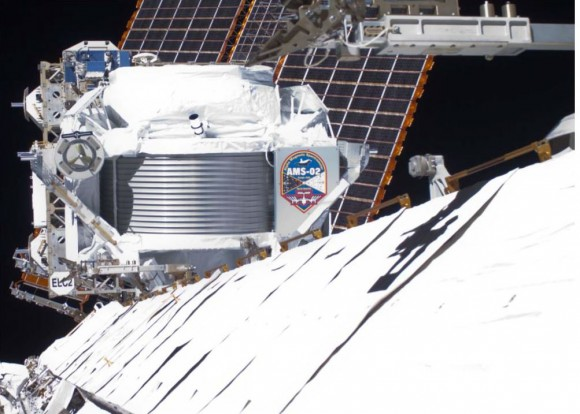 From its vantage point about 400 km above Earth on the International Space Station, the Alpha Magnetic Spectrometer collects data from primordial cosmic rays from space. Credit: NASA