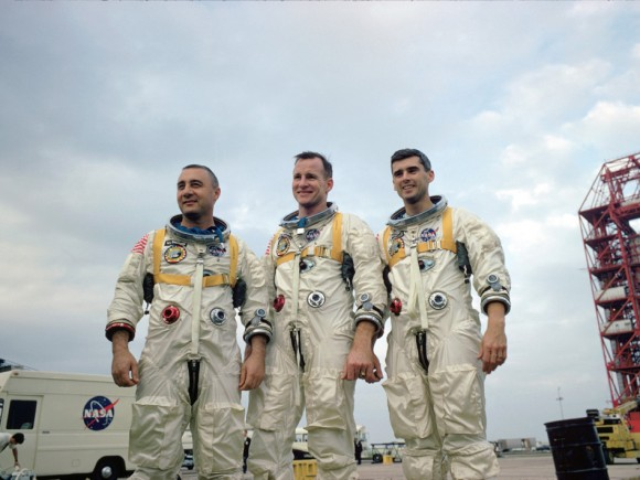 "Apollo 1's crew in another spacesuit shot. From left to right: Virgil ""Gus"" Grissom, Edward White and Roger Chaffee. Credit: NASA"
