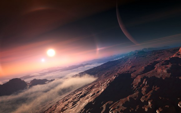 An exoplanet seen from its moon (artist's impression). Via the IAU.
