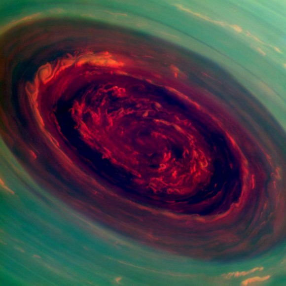 A false-color image, taken by the Cassini spacecraft, of a huge hurricane at Saturn's north pole. Credit: NASA/JPL-Caltech/SSI