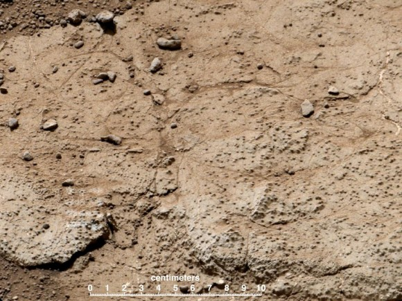 "This patch of bedrock, called ""Cumberland,"" has been selected as the second target for drilling by NASA's Mars rover Curiosity. The rover has the capability to collect powdered material from inside the target rock and analyze that powder with laboratory instruments. The favored location for drilling into Cumberland is in the lower right portion of the image. Credit: NASA/JPL-Caltech/MSSS"