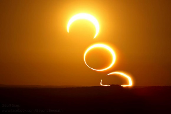 A three image sequence of the rising annular eclipse. Credit: Geoff Sims. (@beyond_beneath)