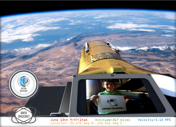 Example of an orbital 'selfie' that Planetary Resources' Arkyd-100 telescope could provide to anyone who donates to their new Kickstarter campaign. Credit: Planetary Resources.