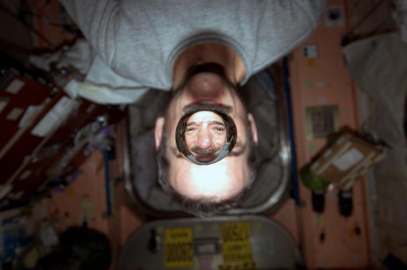 Just a sample of Chris Hadfield's creativity in sharing his space experience. 'Weightless water. This picture is fun no