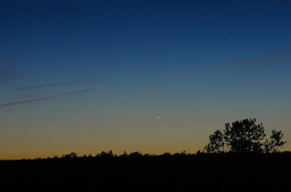 Triple conjunction shot on May 26 from a mile high in Payson,Az.  4 second exposure, ISO200, Canon 10D, 80mm f/5 lens. Credit: Chris Schur- http://www.schursastrophotography.com