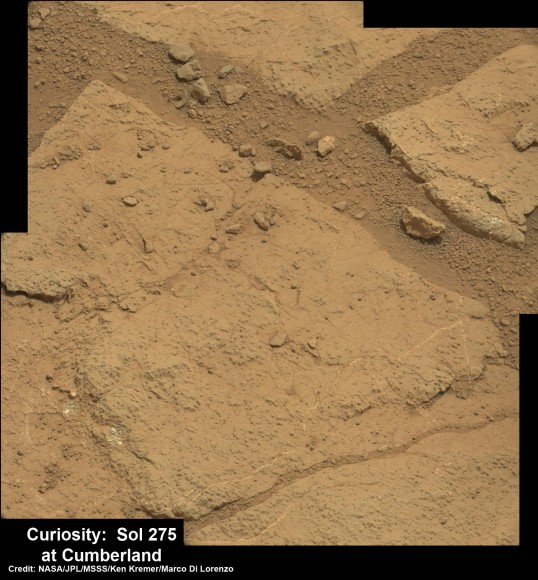High resolution close-up of Cumberland outcrop on Sol 275 (May 15, 2013).   Photo mosaic of Mastcam 100  raw images.  Credit: NASA/JPL-Caltech/MSSS/Ken Kremer/Marco Di Lorenzo