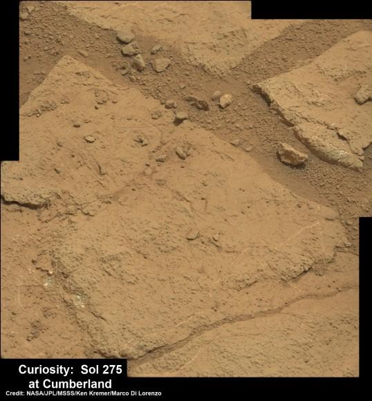High resolution close-up of Cumberland outcrop on Sol 275 (May 15, 2013).   Photo mosaic of Mastcam 100  raw images.  Credit: NASA/JPL-Caltech/MSSS/Ken Kremer/Marco Di Lorenzo