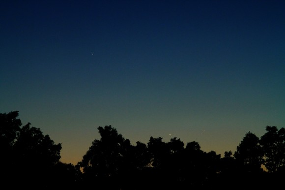 Three evening planets – Jupiter, Venus and Mercury --  on May 23, 2013 at about 9pm CDT, as see from Salem, Missouri.  The photographer noted a fourth planet is also  visible in this photo: Earth! Credit and copyright: Joe Shuster.