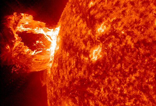 "New research led by a Johns Hopkins mathematical physicist focuses on the ""misbehavior"" of magnetic fields in solar flares. In this image, the Solar Dynamics Observatory (SDO) captured an X1.2 class solar flare, peaking on May 15, 2013. Credit: NASA/SDO"