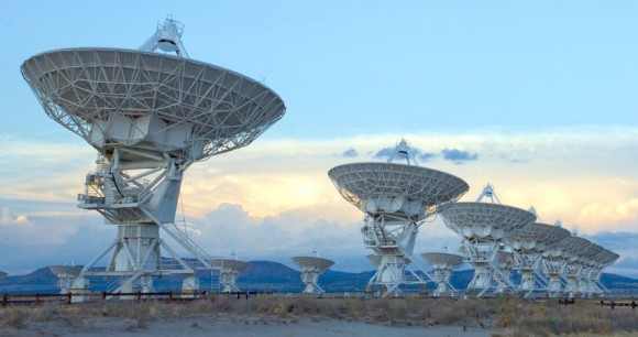 The Very Large Array, one of the world's premier astronomical radio observatories, consists of 27 radio antennas in a Y-shaped configuration 50 miles west of Socorro, New Mexico. Each antenna is 82 feet (25 m) in diameter. The data from the antennas is combined electronically to give the resolution of an antenna 22 miles (36 km) across. Image courtesy of NRAO/AUI and NRAO