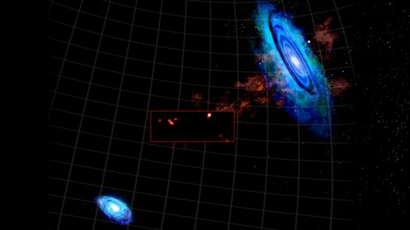 This combined graphic shows new, high-resolution GBT imaging (in box) of recently discovered hydrogen clouds between M31 (upper right) and M33 (bottom left). Credit: Bill Saxton, NRAO/AUI/NSF.