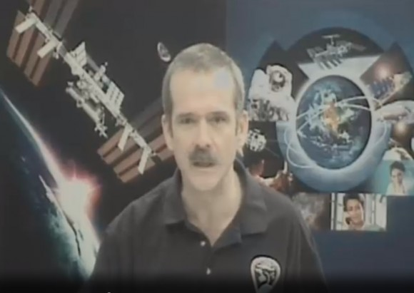 Chris Hadfield, speaking from Houston May 16, 2013 in his first press conference after his five-month mission. Credit: Canadian Space Agency/Ustream