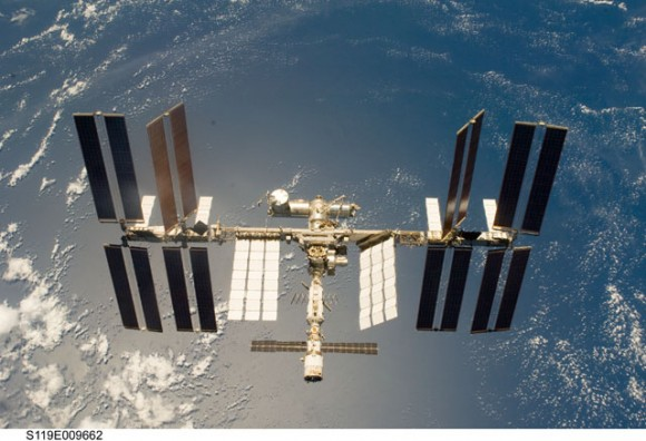 The International Space Station as seen from the crew of STS-119. (Credit: NASA).