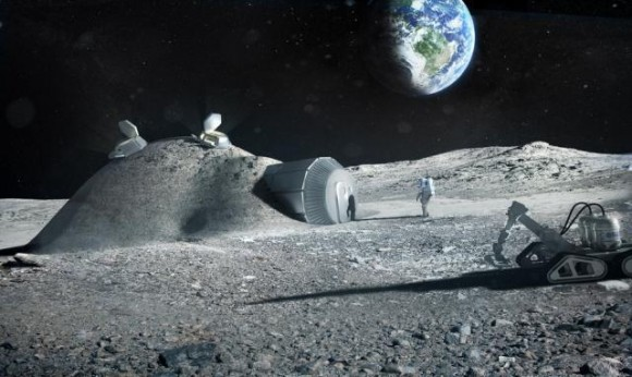 Artist's conception of a lunar base constructed with 3D printing technology. (Credit: NASA Lunar Science Institute).