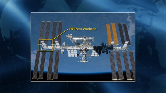 A slide showing the P6 Truss, the location of the coolant leak on the International Space Station. Credit: NASA.