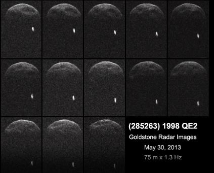 Radar images from May 29, 2012 of Asteroid 1998 QE2, showing its binary companion. Credit: NASA.