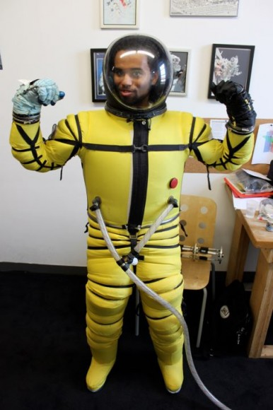 Sol-X Chief Technology Officer Blaze Sanders wearing a Final Frontier Design space suit. Credit: Solar System Express.