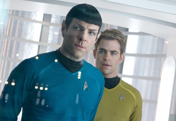 Spock (Zachary Quinto) and Kirk (Chris Pine) as portrayed in Star Trek: Into Darkness. Credit: StarTrekMovie.com