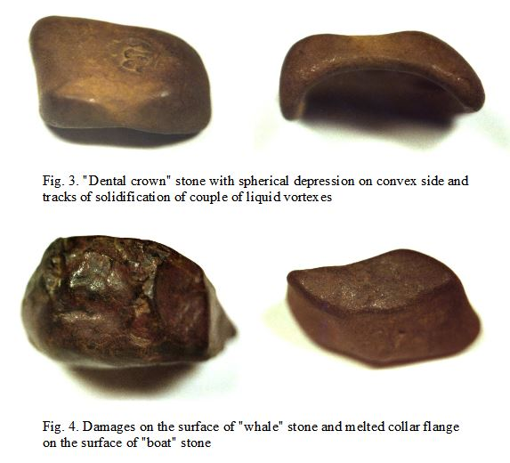 Image of potential meteorite fragments from the Tunguska event, from a paper by Andrei E. Zlobin, 'Discovery of probably Tunguska meteorites at the bottom of Khushmo river's shoal.'
