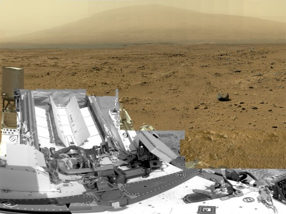 "This is a cropped, reduced version of panorama from NASA's Mars rover Curiosity with 1.3 billion pixels in the full-resolution version.  See full panorama below. It shows Curiosity at the ""Rocknest"" site where the rover scooped up samples of windblown dust and sand. Curiosity used three cameras to take the component images on several different days between Oct. 5 and Nov. 16, 2012. Viewers can explore this image with pan and zoom controls at http://mars.nasa.g"