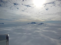 Only the tips of many of Antarctica's mountains are visible above thousands of feet of ice. (Oct. 2012 IceBridge photo. Credit: NASA / Christy Hansen)