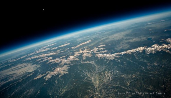The Moon sets above the Continental Divide in Colorado from 86,000 feet. Taken June 27, 2013 on a meteorological balloon launched from Boulder, Colorado. Credit and copyright: Patrick Cullis.