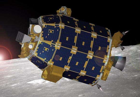 An Artist's concept of LADEE in orbit around the Moon. (Credit: NASA Ames).