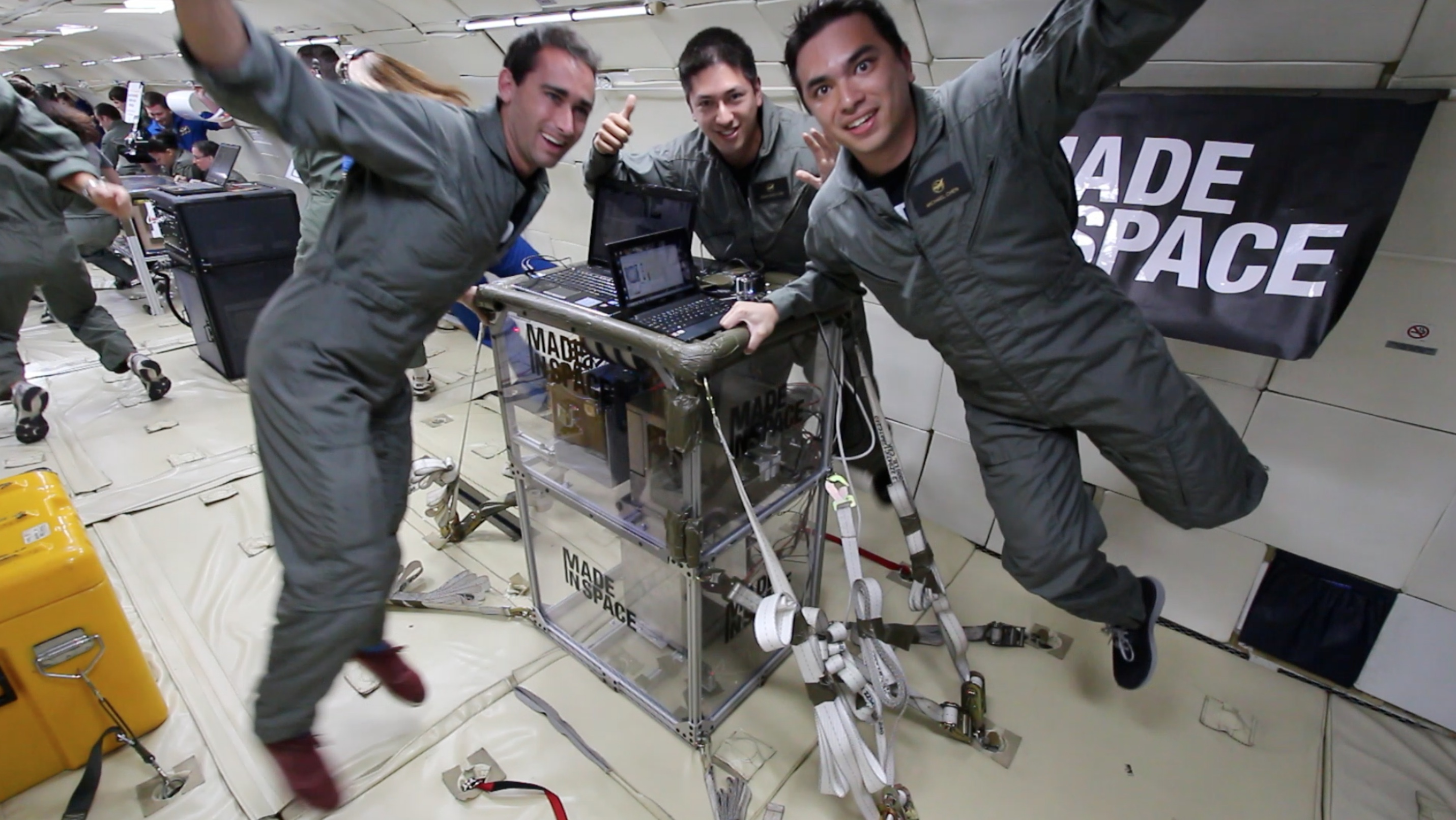 A test of the 3-D printer in a microgravity-like environment simulated on an airplane that flies parabolas. Credit: Made in Space