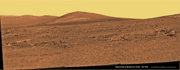 Solander Point mosaic captured by high resolution pancam camera on Sol 3334, June 10, 2013.  Opportunity will scale Solander after arriving in August 2013 in search of chemical ingredients to sustain Martian microbes  Credit: NASA/JPL/Cornel