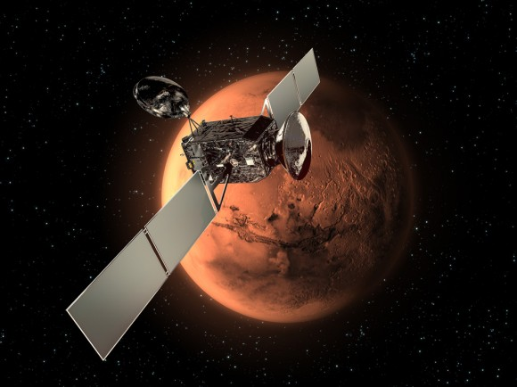 ExoMars 2016 Mission to the Red Planet.  It consists of two spacecraft -  the Trace Gas Orbiter (TGO) and the Entry, Descent and Landing Demonstrator Module (EDM) which will land.  Credit: ESA