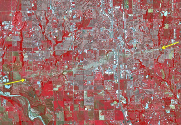 The track of the tornado that struck Moore, Oklahoma on May 20, 2013 is visible from space in this false color image taken on June 2, 2013 by the Advanced Spaceborne Thermal Emission and Reflection Radiometer (ASTER) on NASA's Terra satellite.